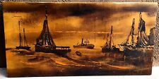 "VTG Mid Century Oil on Canvas Ships Boat Naval Nautical Sunset Large 48"" X 24"""