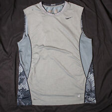 NIKE PRO COMBAT Mens Sleeveless Shirt - Dri-Fit Fitted - Gray/Grey Size L LARGE