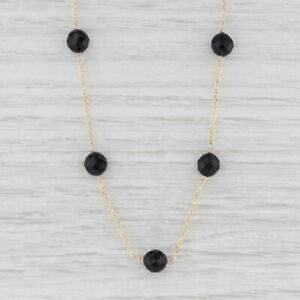 """Onyx & Glass Bead Necklace 14k Yellow Gold Cable Chain 15.75"""""""