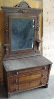 Antique American Eastlake Walnut Dresser & Mirror With Rose Granite Top C 1880