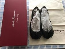 Salvatore Ferragamo Black Nilly 0584480 Bow Jelly Flats Shoes SIZE-US-6M