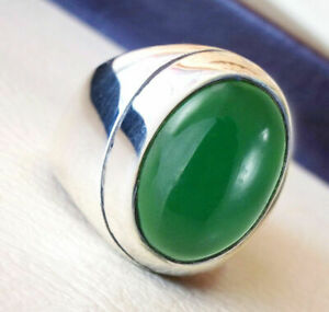 Green Onyx Gemstone Solid 925 Sterling Silver Signet Mens Ring Jewelry