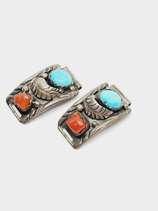 Vintage Navajo Sterling Silver Turquoise Coral Watch Tips