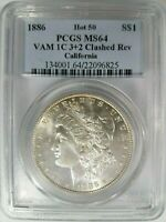 1886 Silver Morgan Dollar PCGS MS64 Vam 1C Clashed Reverse California Collection