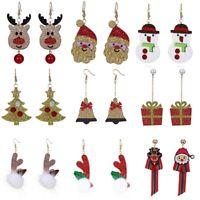 New Christmas Santa Claus Snowman Elk Dangle Earrings Hook Women Party Jewellery