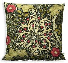 William Morris Seaweed Black Red Fabric Vintage Designer Cushion Pillow Cover