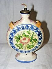 VINTAGE ITALIAN MAJOLICA FAENZA  POTTERY MOON FLASK CONVERTED TO A LAMP