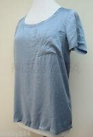 Ladies Tommy Hilfiger Denim Short Sleeve Blouse Top 100% Silk Blue S M L XL New
