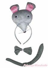 Halloween Gray 3D Mouse Rat Headband Bow Tail 3pc Child Kid School Party Costume