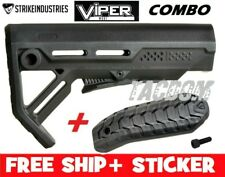 Strike Industries Viper BLACK MOD1 Compac Stock QD minimal + Rubber BUTT PAD #1