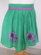 BODEN IMMACULATE skirt 100% SILK GREEN APPLIQUE FLOWERS aged 3-4 LINED PARTY