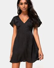 MOTEL ROCKS Elara Dress in Black Satin Cheetah L Large (mr39)