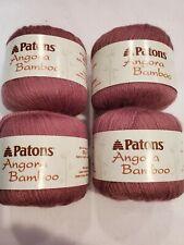 Patons angora bamboo yarn. 1.75 oz. Lot of 4. color rose essence. New.