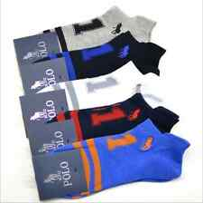 5 Pairs Mens Sport Tab Designer Socks HJC Polo 51 Striped No Show Ankle Athletic