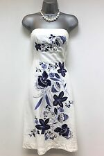 Stunning Warehouse White & Blue Embroidered Bandeau Occasion Day Dress 12