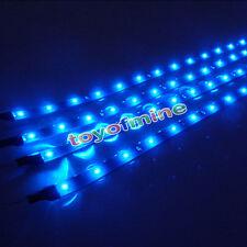 4X 15 LEDs 30cm Grill Luz SMD Car Auto tira flexible impermeable la lámpara Azul