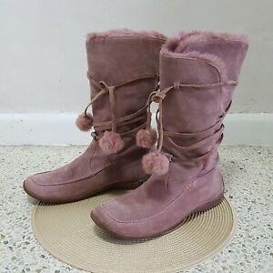 Carvela Womens Shoes Boots Suede Mauve Pink Pom Pom Tall Sz 41 Faux fur Mid-calf