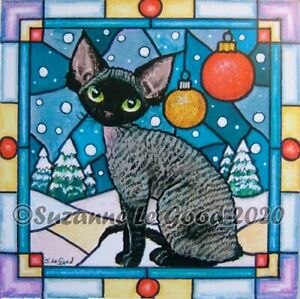 Devon Rex Cat art print Christmas from original painting by Suzanne Le Good