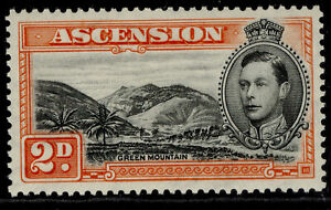 ASCENSION GVI SG41, 2d black & red-orange, M MINT. Cat £10. PERF 13½