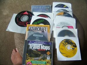 13 Vintage PC software CDs Lot Travel Maps Starcraft   , and more