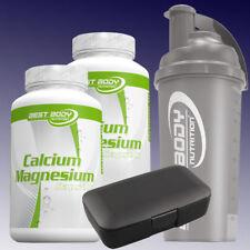 10,09€/100g Best Body Calcium Magnesium 2 x 100 Kapseln + Box u.  Shaker Schwarz