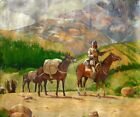 Dale Goss Impressionist Trapper & Packhorses on Mountain Road Oil Painting #1 NR