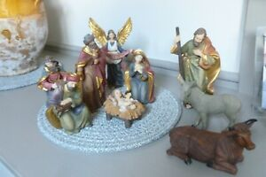 Vintage style Christmas nativity stable scene complete set XC
