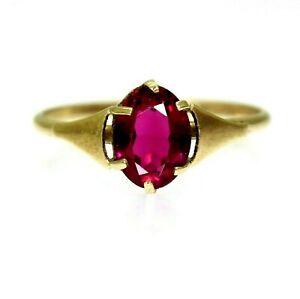 Vintage 9ct 9k Gold Ruby Paste Ring Size 6 1/2 - M 1/2