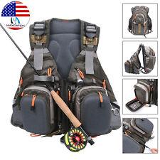 Maxcatch Fly Fishing Mesh Vest Multi-pocket Backpack Chest Bag Adjustable Size