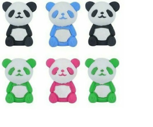 6 x PANDA Erasers Rubbers Girls Kids Novelty Party Bag Fillers School Stationery