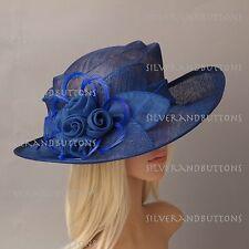 "4 1/4"" Wide Brim Sinamay Wedding Church Formal Party Downton Abbey Dress Hat"