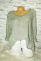 Italy leichtes Shirt Tunika  Bluse Gr. 36 38 40 blogger khaki ausgefranst