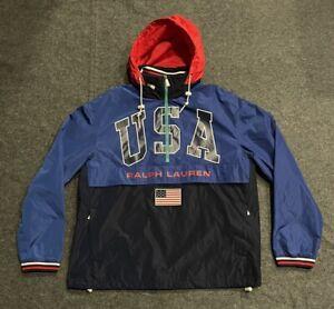 Men's Polo Ralph Lauren USA Windbreaker Jacket Blue Zip Hood Olympics Sz MEDIUM