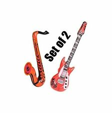 (Set Of 2) 24'' Orange Saxophone & 42'' Red Rock Guitar Inflatable Party Toy