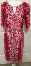 Sunny Leigh size L red white paisley slinky short sleeve dress women's