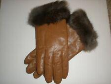 Bravura Plush Rabbit Fur Lined Leather Gloves - Caramel Brown Dark Brown Large