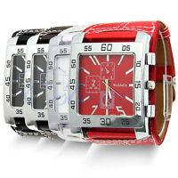 Luxury Men Women Sport Watch Big Square Dials Leather Band Quartz Wrist Watches