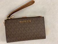 Michael Kors Brown MK Signature Jet Set Double Zip Phone Case Wallet Wristlet