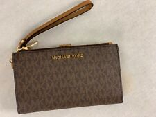 f0442b80fe5bf8 Michael Kors Brown MK Signature Jet Set Double Zip Phone Case Wallet  Wristlet