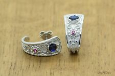 Byzantine Earrings 925 Solid Sterling Silver Rubies Sapphires GREEK ART