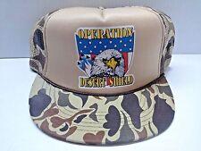 Vintage Operation Desert Shield Adjustable Snapback Cap Hat Camo