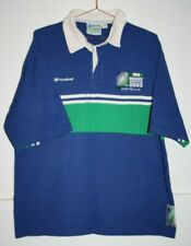 Reebok Men's iRB Rugby World Cup 2003 Blue Cotton Short Sleeve Polo Shirt Size L
