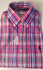 Ralph Lauren hombre a medida manga larga tela escocesa rosada camisa de cuadros