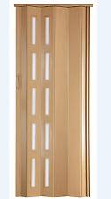 Falttür Schiebetür buche mit Fenster H.201 cm B. 83 cm Doppelwandprofil Neu ST5o