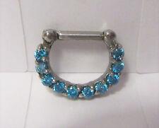 Surgical Steel Loaded Aqua Crystal Cartilage Daith Snap In Hoop 14 gauge 14g