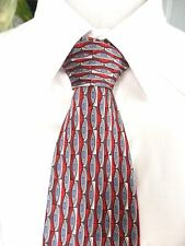 "Antonia Collection Tie Red Gray Geometric Stripe 100% Silk 59""L 4""W $36 Retail"