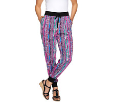 Whitney Port Pull On Jogger Pants With Pockets Size 12 Pink Multi Color