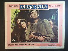 "GENE BARRY 11x14 ""CHINA GATE"" CARDBOARD THEATER LOBBY CARD FILM PROMO"