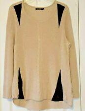 Nic+Zoe Multistitch Cable Tan/Black Sweater L