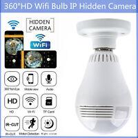 360°HD Wifi Bulb IP Hidden Camera Panoramic Home Security Spy Cam LED Bulb V380